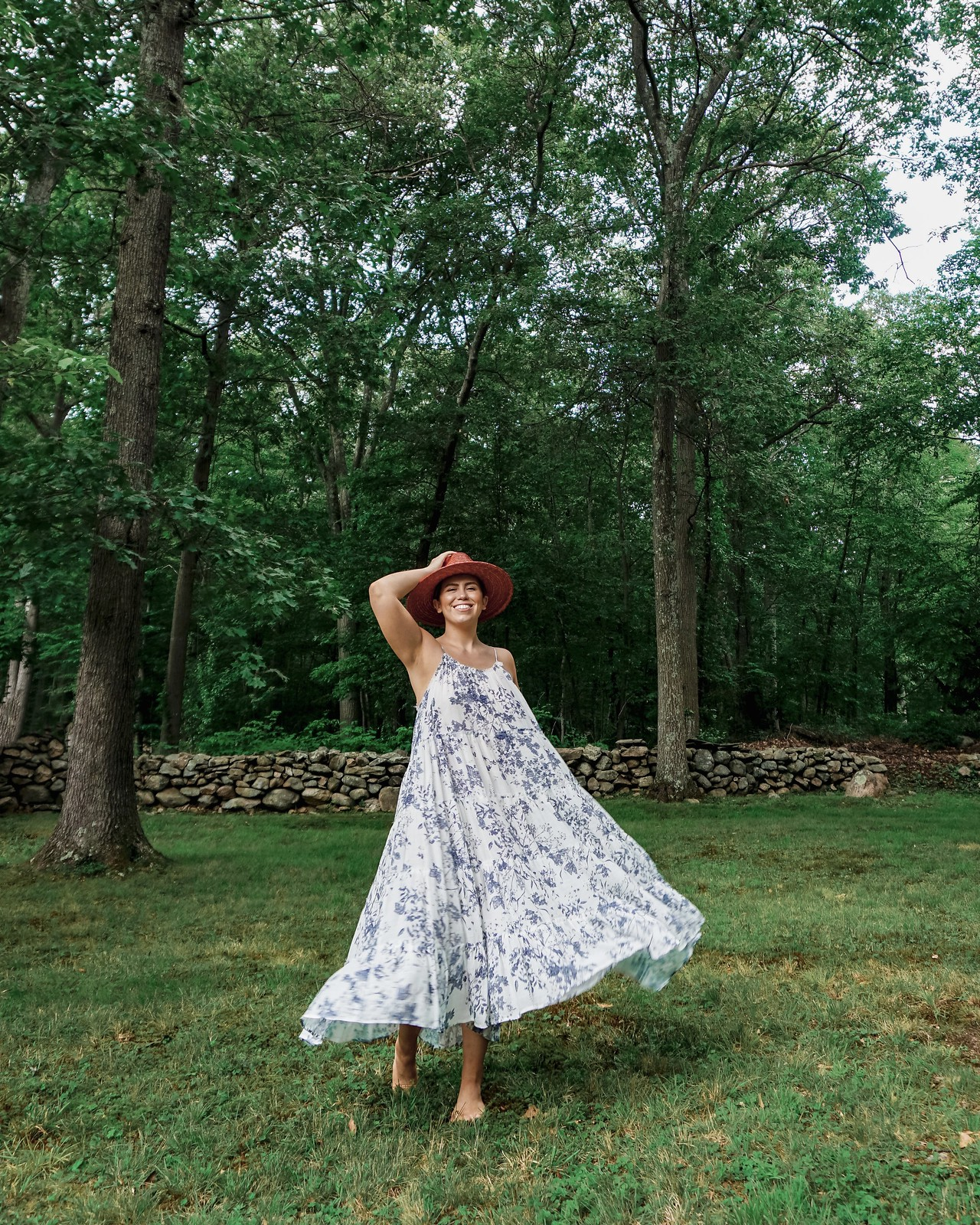 White Blue Floral Maxi Dress | Easy Summer Boho Feminine Fashion | A Look Back at 10 Years of Blogging Living After Midnite Blogger Jackie Giardina