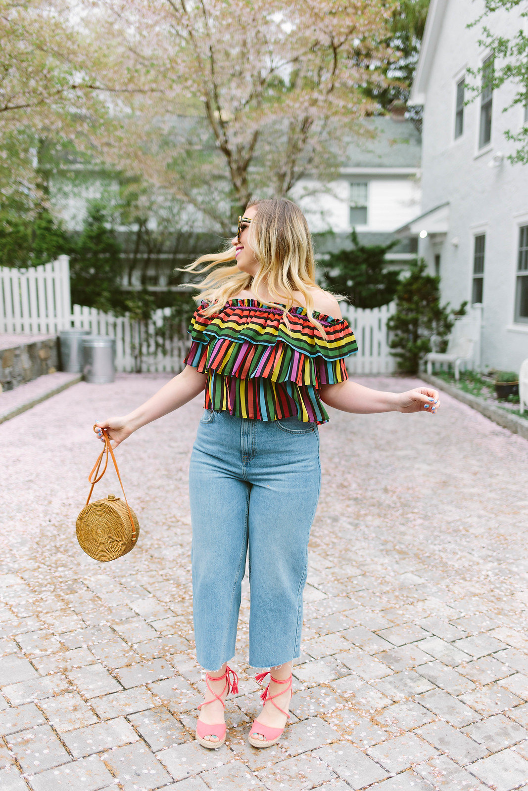 Rainbow Striped Off the Shoulder Crop Top | Wide Leg Jeans
