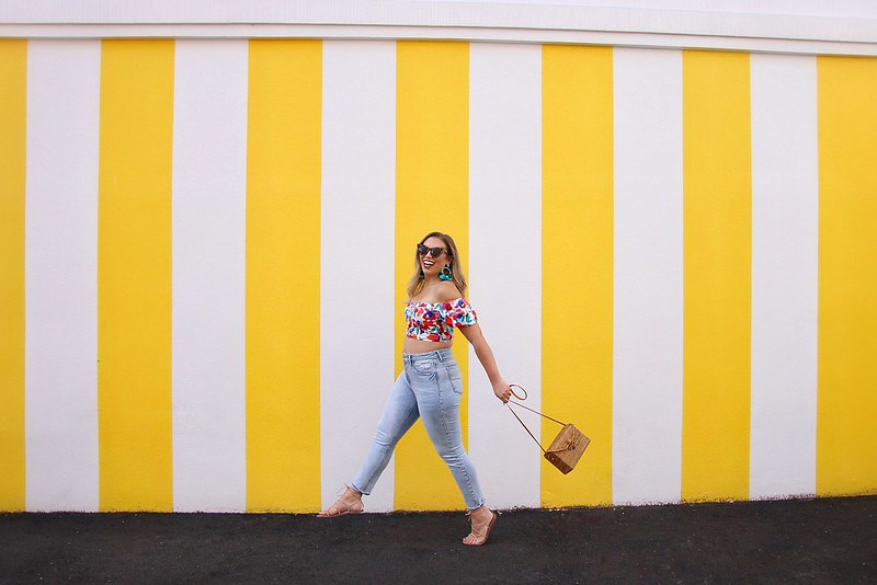 Darien CT Yellow Striped Wall | Floral Off the Shoulder Crop Top | High Waisted Jeans
