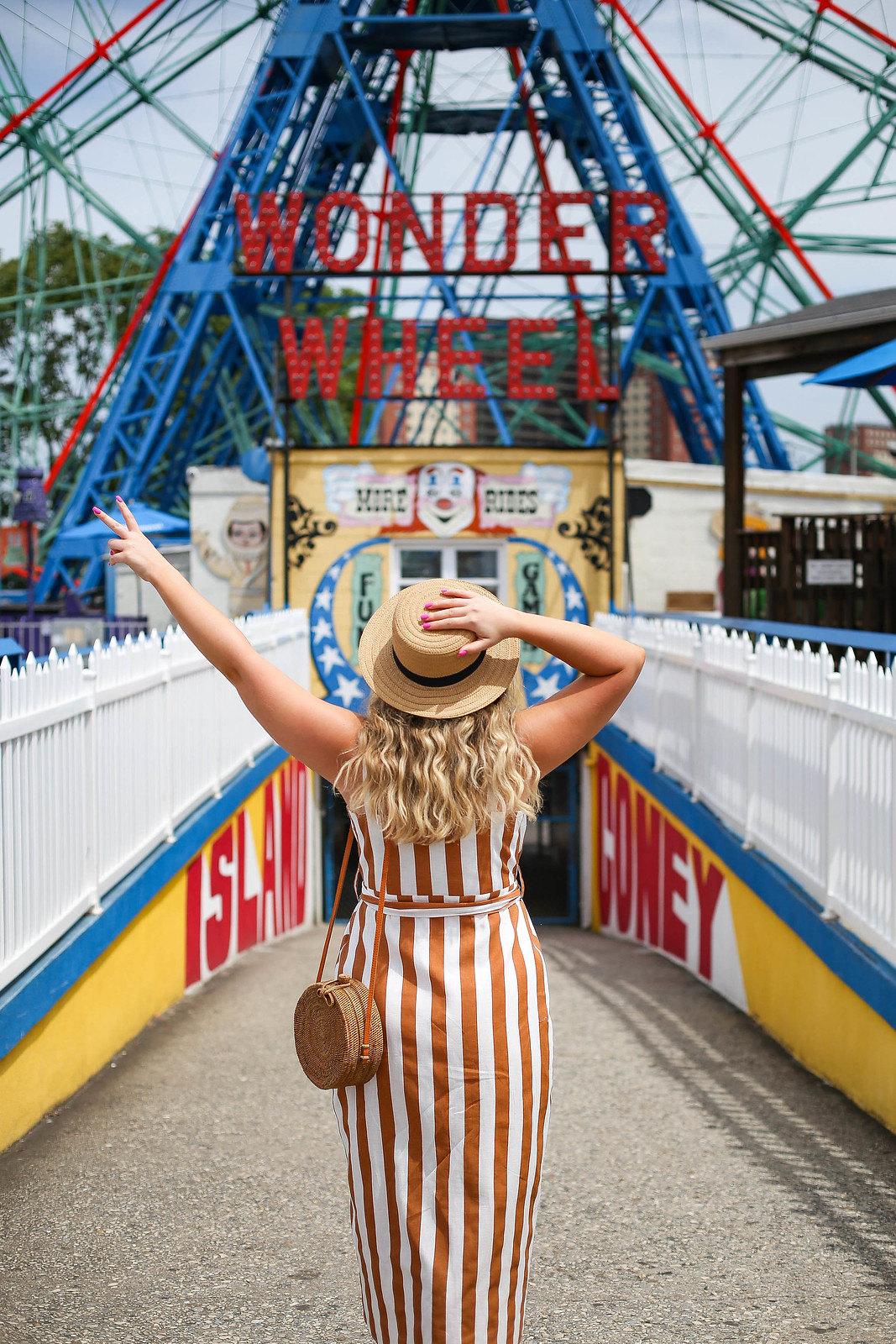 Coney Island Wonder Wheel Brooklyn NY   Brown White Striped Midi Dress