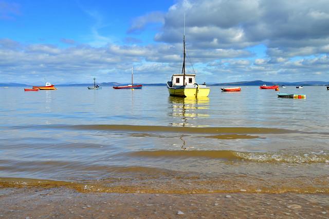 Boats at Morecambe Bay in Lancashire