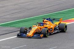 Fernando Alonson and his Mclaren at the Belgian Grand Prix 2018