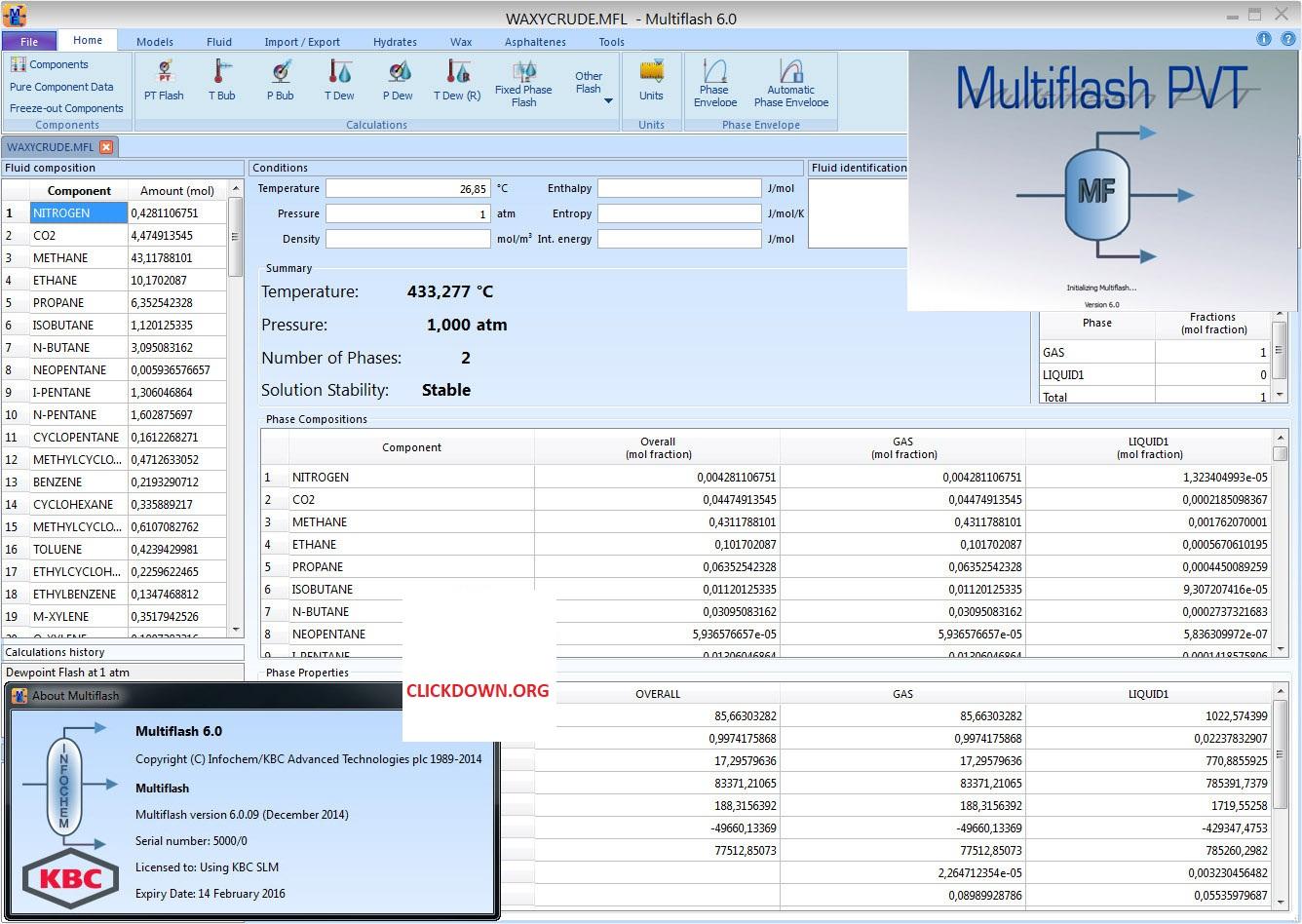 Working with KBC Infochem Multiflash 6.1.25 full license