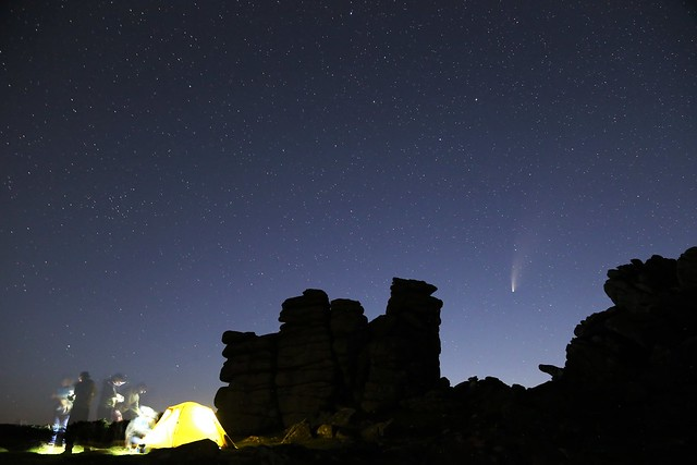 Comet NEOWISE over Hound Tor at twilight