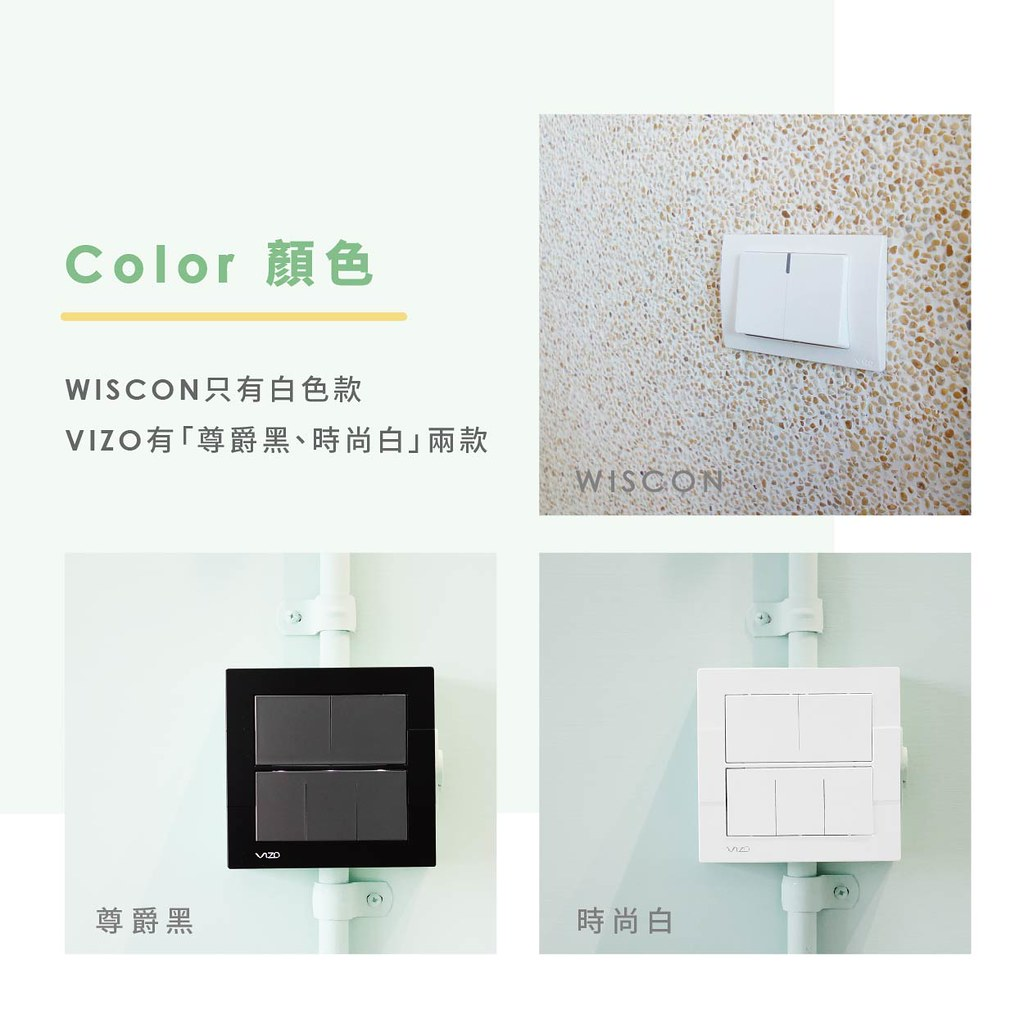 WISCON只有白色 VIZO有尊爵黑、時尚白兩款