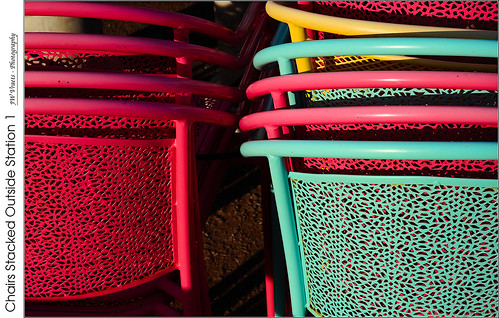 grimsby sunlight hardlight earlymorning sunrise chairs mesh stacked colourful green yellow station1 patio red redrule opensource rawtherapee gimp nikon d800 afsnikkor24120mm140