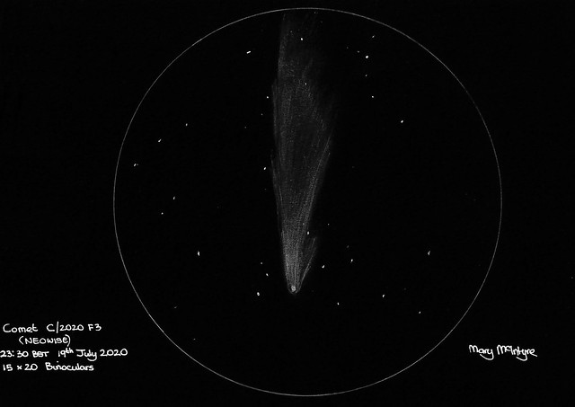 C/2020 F3 NEOWISE Sketch (Inverted) - 23:30 BST 19th July 2020