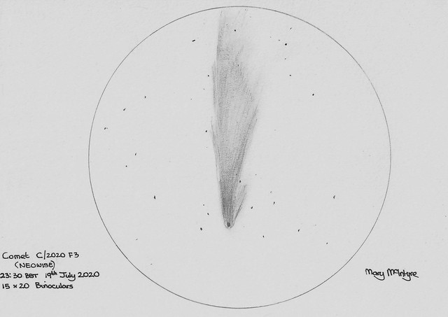C/2020 F3 NEOWISE Sketch - 23:30 BST 19th July 2020