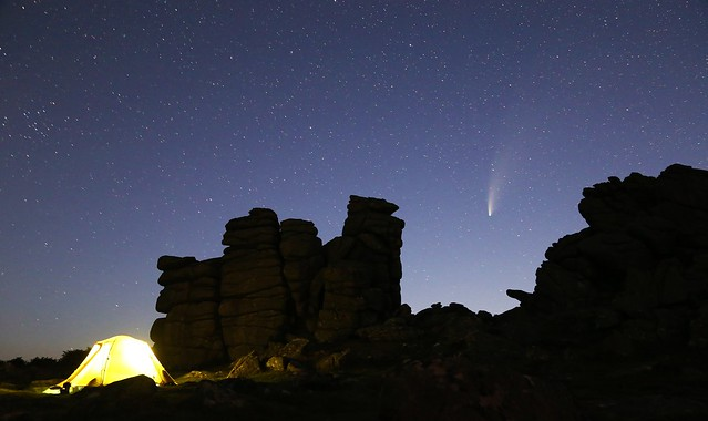 Comet NEOWISE over Hound Tor at twilight #2