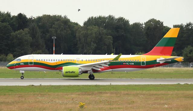 Air Baltic, YL-CSK, MSN 55039, Airbus A 220-300, 19.07.2020,HAM-EDDH, Hamburg