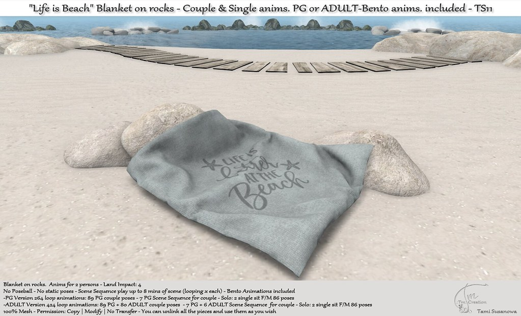 ".:Tm:.Creation ""Life is Beach"" Blanket on rocks TS11"