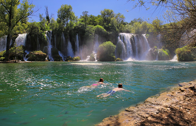 Emerald Kravice pool offers an idyllic respite from the summer heat