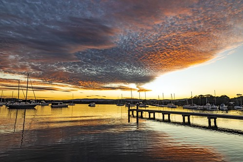 sunset clouds bolton point lakemacquarie water reflection pier yacht eosr mirrorless canon