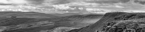 landscape cumbria yorkshiredales mallerstangcommon wildboarfell cairns swarthfell highwhitescar penyghent ingleborough whernside cloudscape clouds blackwhite monochrome pendlehill