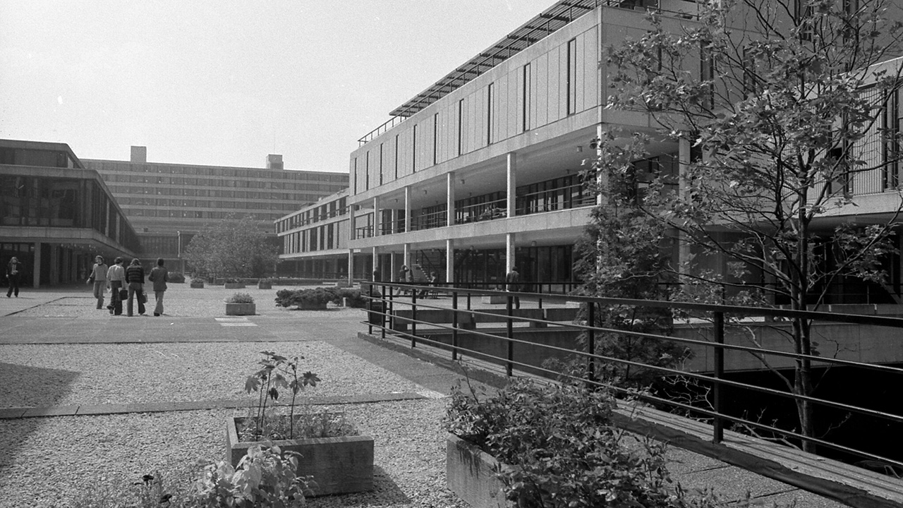 Black and white photo of campus in the 1970s