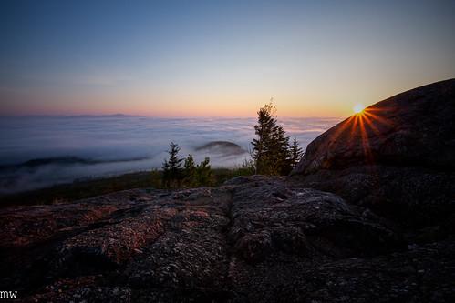 mount major sunrise new hampshire hiking nature landscape undercast