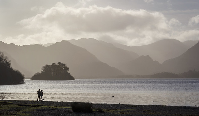 Looking south across Derwentwater, Lake District National Park, Cumbria, UK