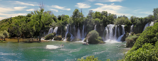Kravica waterfall in the karstic heartland of Herzegovina in Bosnia