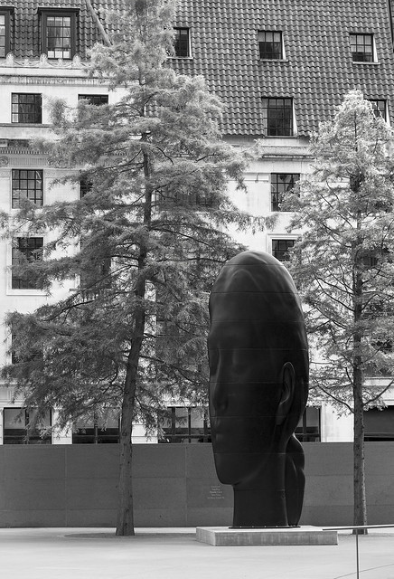 'Laura' (Jaume Plensa, 2013) outside 30 St Mary Axe, City of London, London EC3, UK