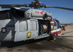 An MH-60S Sea Hawk attached to Helicopter Sea Combat Squadron (HSC) 21 sits loaded with an Airborne Mine Neutralization System (AMNS) AN/ASQ-235 for use during Trident Warrior. (U.S. Navy/MC1 Timothy Wilson)
