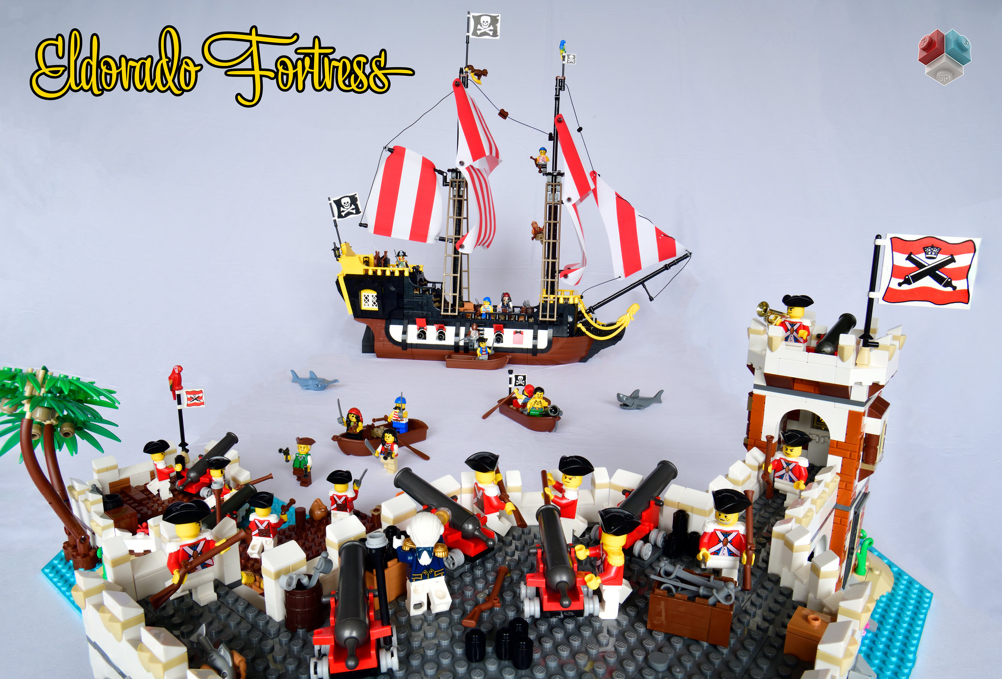 Military Navy Ship /& Island Fort Custom Lego Set