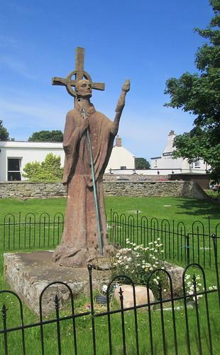 St Aidan Statue Outside Lindisfarne Priory