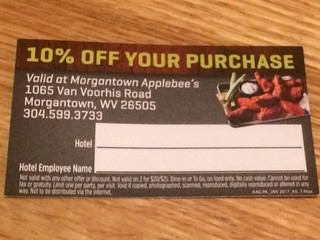 10% Off Coupon to Applebee's (only good at the Morgantown, WV location). | by cpsnklcx81