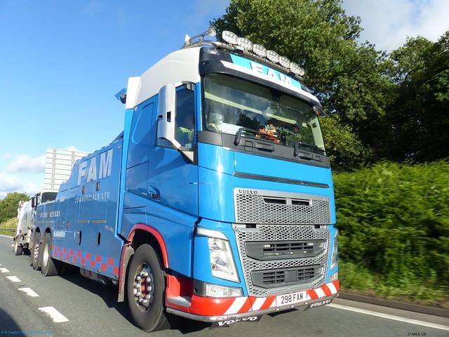 Volvo FH4 298 FAM FAM Commercials Ltd Towing [ Tracking Shot ) J7 M56 UK