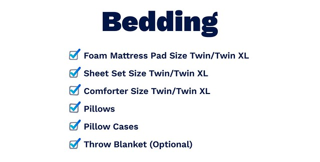 bedding list