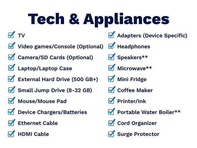 tech and appliances list