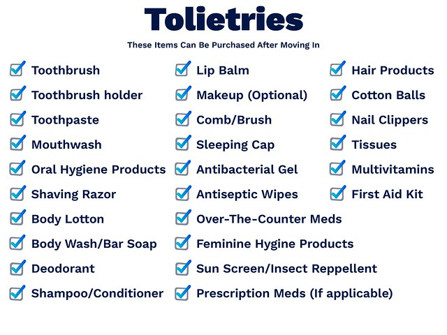 toiletries list
