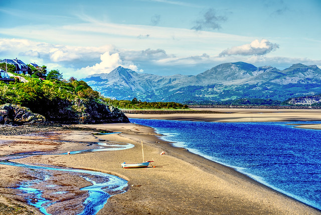 Borth Y Gest Snowdonia National Park Wales Looking across Traeth Bach at low tide