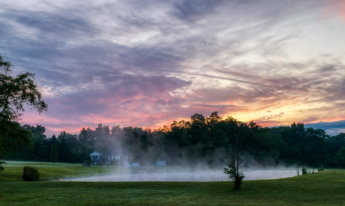 hdr nikon nikond5300 outdoor pennsylvania stoystown clouds geotagged grass lawn mist morning outside pond rural sky sunrise tree trees water