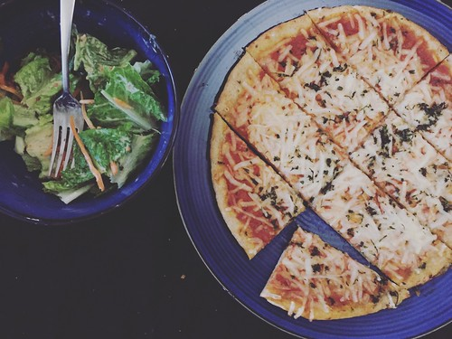 Vegan Harvest Pizza & homemade vegan caesar