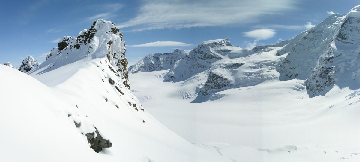 Morteratsch Glacier freetour Bernina Švýcarsko panorama 16