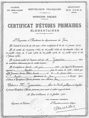 Certificat d'Études primaires élémentaires en 1936