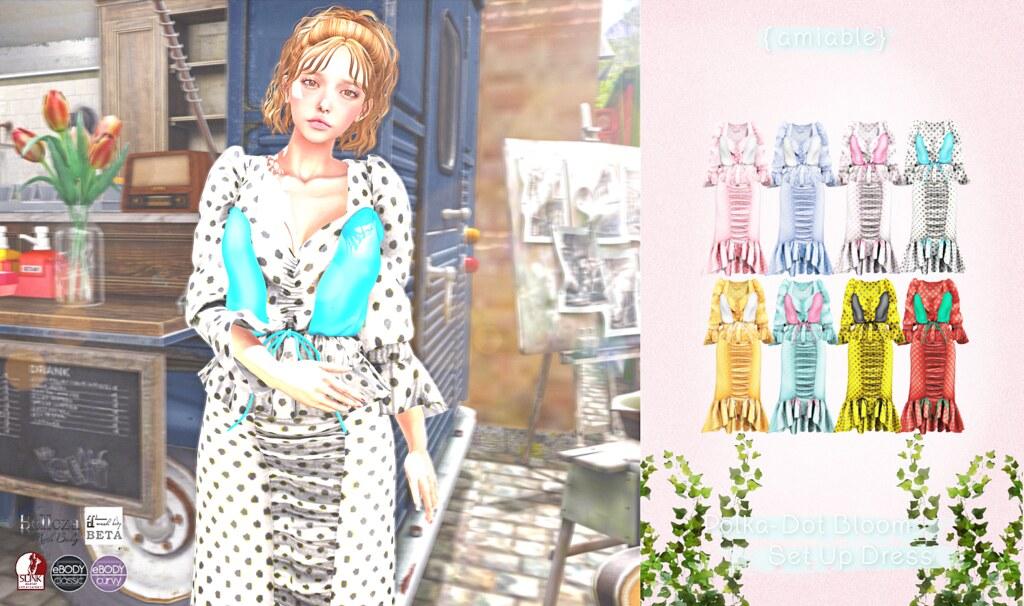"{amiable}Polka-Dot Bloom Set Up Dress@TSS (""50%OFF SALE"" &""GIVE AWAY"")."