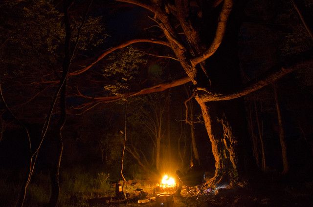 Night photography around the campfire