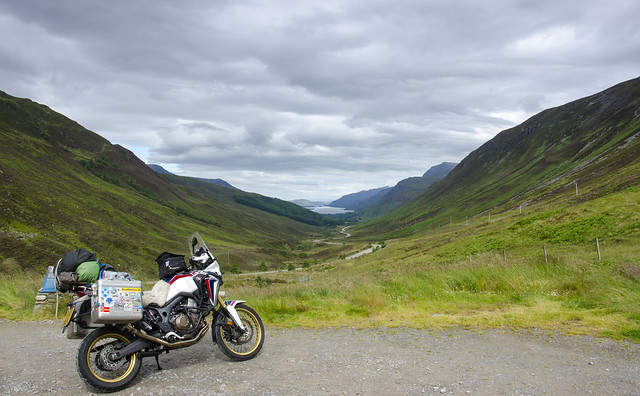 Africa Twin looking down to Loch Maree.
