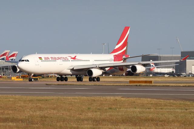 3B-NBE  -  Airbus A340  -  Air Mauritius  -  LHR/EGLL 22/7/20.