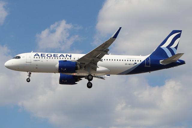SX-NEC  -  Airbus A320-271N  -  Aegean Airways  -  LHR/EGLL 22/7/20