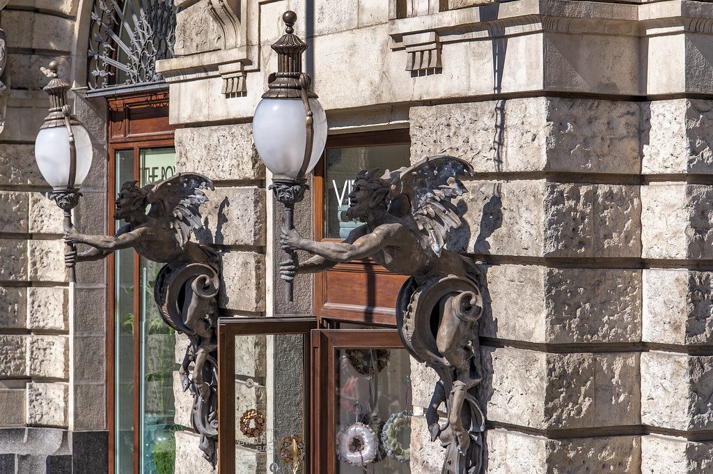 Satyr lamps in Budapest