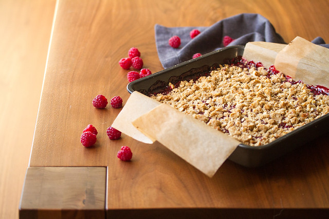 Baking Pan of Raspberry-Rhubarb Crumble Bars