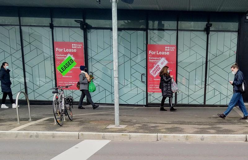 Pedestrians wearing masks, Centre Road, Bentleigh