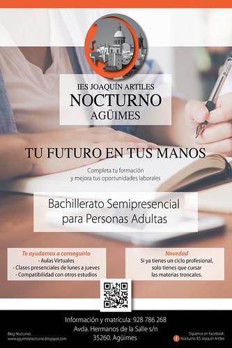 Cartel promocional del Bachillerato Semipresencial Nocturno del IES Joaquín Artiles de Agüimes