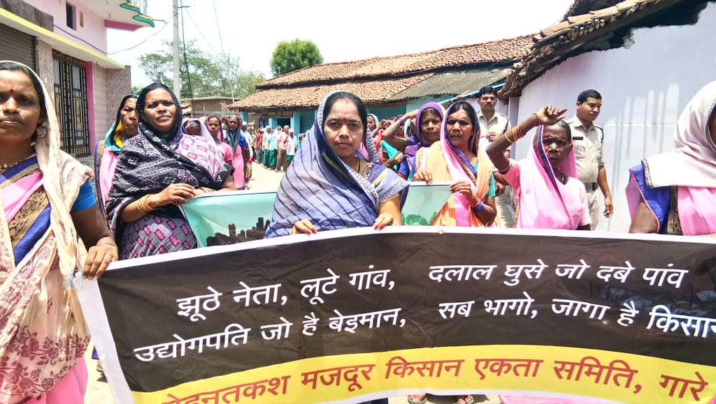 Protest against coal mining in Chhattisgarh in 2018. Image: Jan Chetna NGO