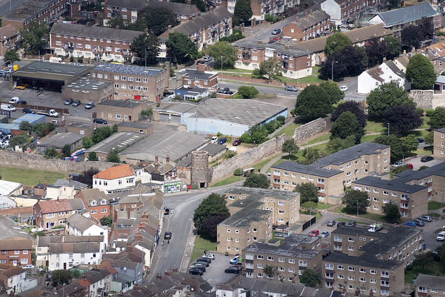 Great Yarmouth aerial image - the medieval town wall