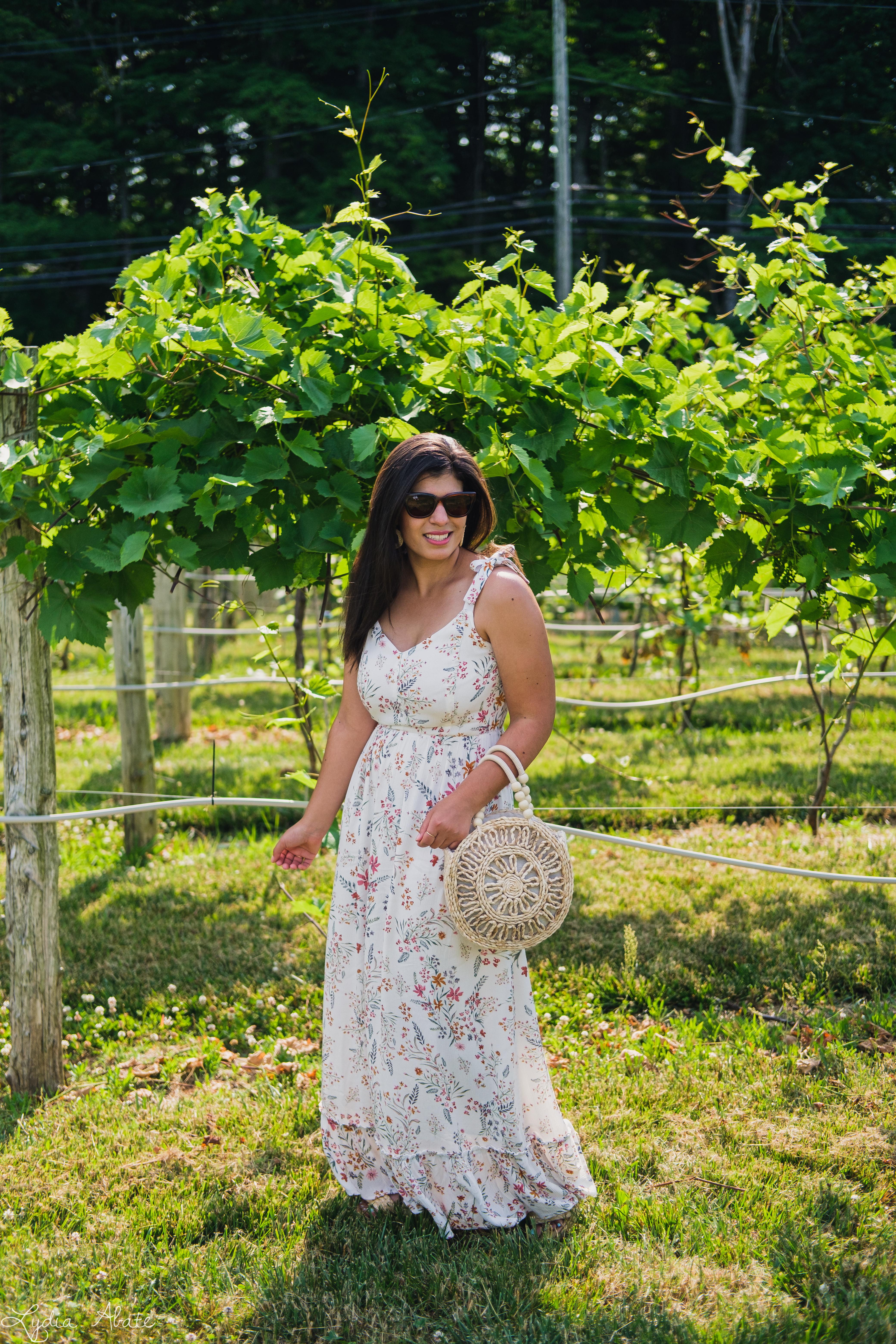 white floral print maxi dress, round straw bag-6.jpg