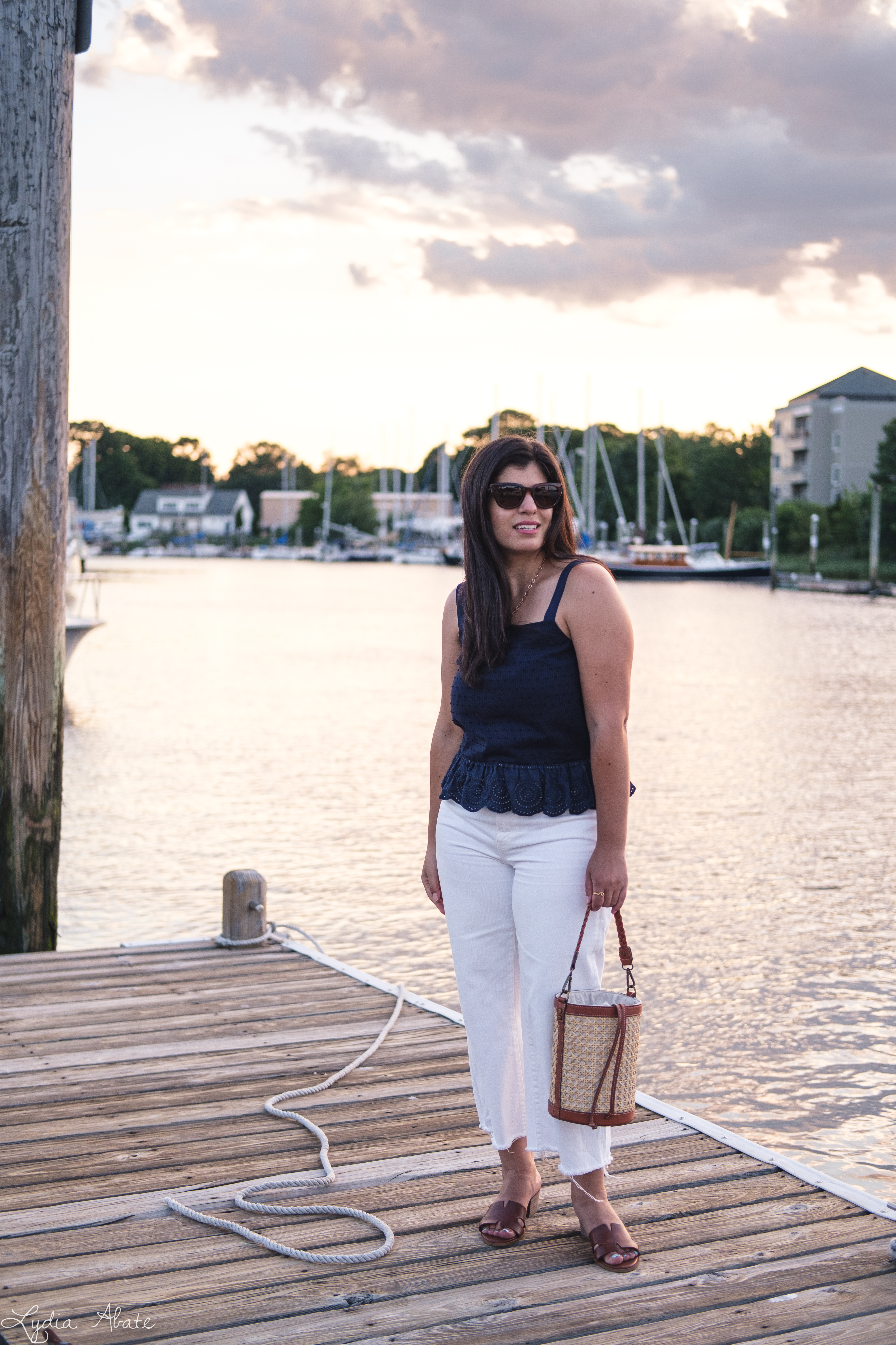 navy eyelet lace top, wide leg white jeans, caning bucket bag, brown sandals-2.jpg