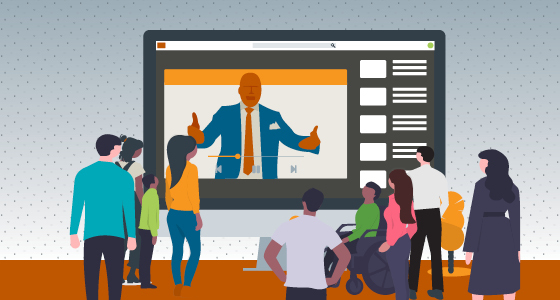 Illustration of Dr. Moore teaching a streaming class to a diverse group of people